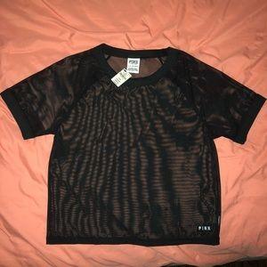 Mesh see thru PINK crop top black